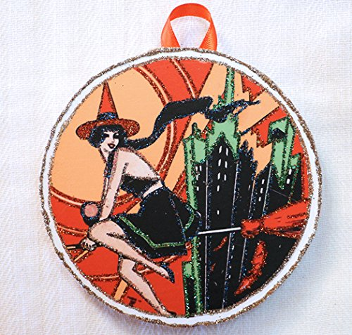 Art Deco Witch ~ Vintage Halloween Image~Glittered Wooden Ornament ~ -