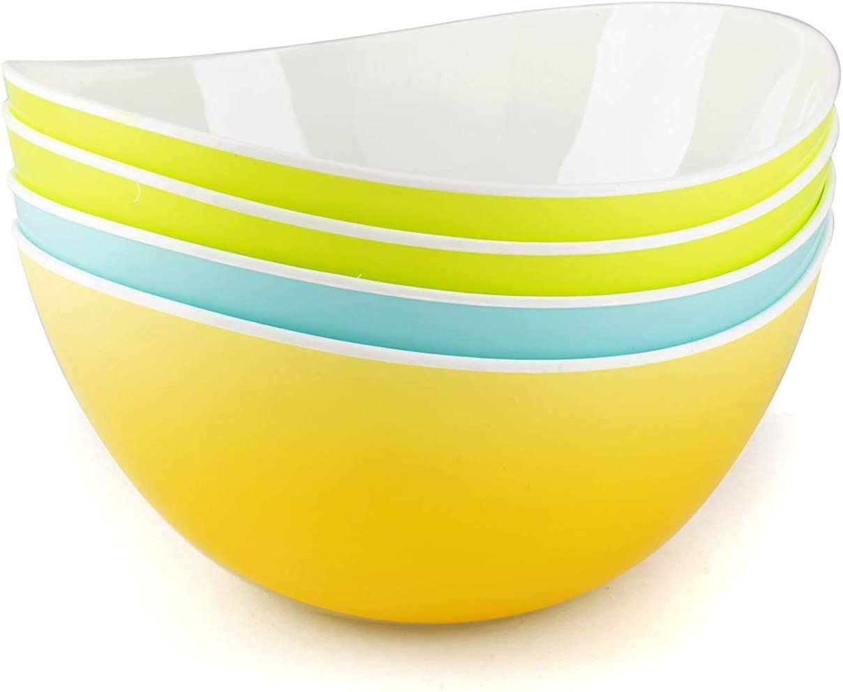 Salad Bowl Plastic Pasta Cereal kids Dessert Serving camping Snacks Mixing Bowls - Set of 4