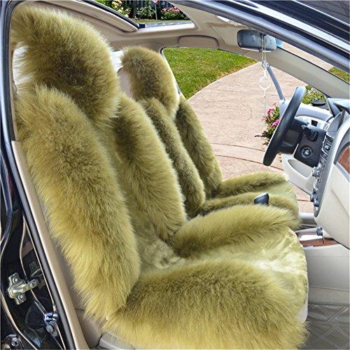 Peiji 3Pcs Luxury Interior Thick Wool Car Seat Cover Set, Sheepskin Rug Fleece, Universal Cushion Automobile Decoration (Half Green)