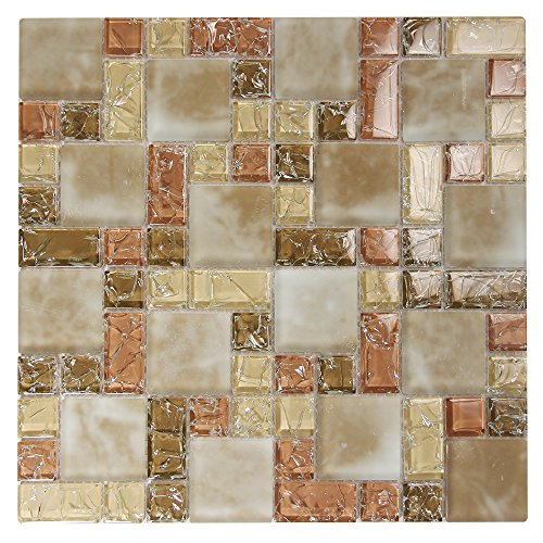 Glass Tile With Cracked and Recycled Glass - Crius 1 Mosaic Tile - Backsplashes, Walls, Shower (4 x 6 Inch Sample) (Recycled Glass Floor Tile)