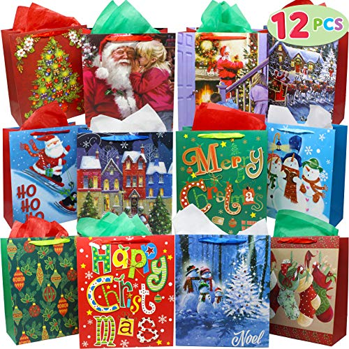 12 Christmas Painting Style Gift Bags Bulk with Handles and Name Tags Assorted Designs for Xmas Holiday Wrapping Goodie Bags Party Favor Supplies, Present Wrap Décor, School Classroom Goody Bags.