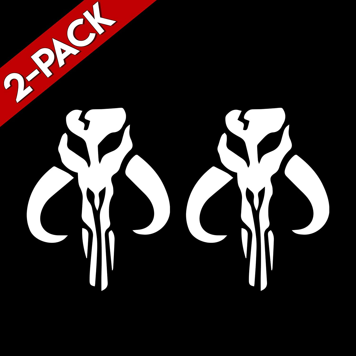 "Bargain Max Decals (2X Pack Mandalorian Skull Boba Fett Sticker Decal Notebook Car Laptop 6"" (White)"