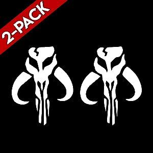 "Bargain Max Decals (2X Pack Mandalorian Skull Boba Fett Sticker Decal Notebook Car Laptop 6"" (White)"