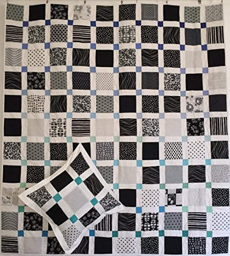 Blue and Green Square Modern Lap Quilt with Pillow Case