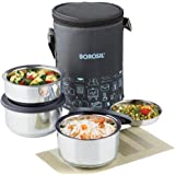 Borosil Carry Fresh Stainless Steel Insulated Lunch Box Set of 3, (2pcs 280 ml + 1pcs 180 ml), Black