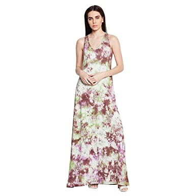 23bffd37025 Wisstler Multi Color Knitted Single Jersey Tie and Dye Maxi Dress   Amazon.in  Clothing   Accessories