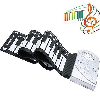 Lvreby Portátil Flexible Enrollable Piano electrónico, 49 Teclas USB Recargable Teclado Digital Altavoz Integrado Teclado Digital para niños Juguetes,Silver: Hogar