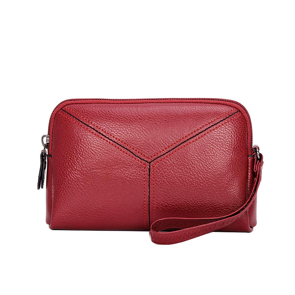 Womens Mobile Phone Bag Zip Multi-function Coin Purse Mobile Bag Card Holder Purse Wristlet Wallet (Red, 19cm(L) x4cm(W) x12cm(H))