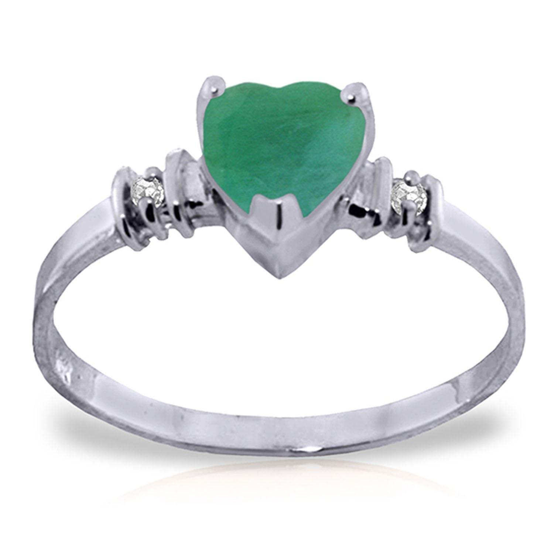 ALARRI 1.03 Carat 14K Solid White Gold Ring Natural Emerald Diamond