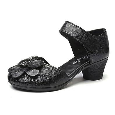 ... Cómodo Zapatos de Cabeza Redonda con Tacón Medio Confort Casual Caminar Sandalias de Verano Mocasines Slipper Casual: Amazon.es: Zapatos y complementos
