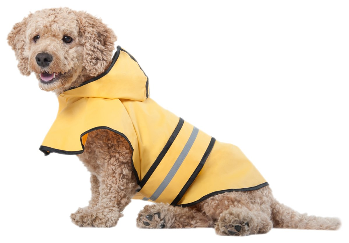 Fashion Pet Dog Raincoat For Medium Dog | Dog Rain Jacket With Hood | Dog Rain Poncho | 100% Polyester | Water Proof | Yellow w/ Grey Reflective Stripe | Perfect Rain Gear For Your Pet by Ethical Pet by Ethical Pet