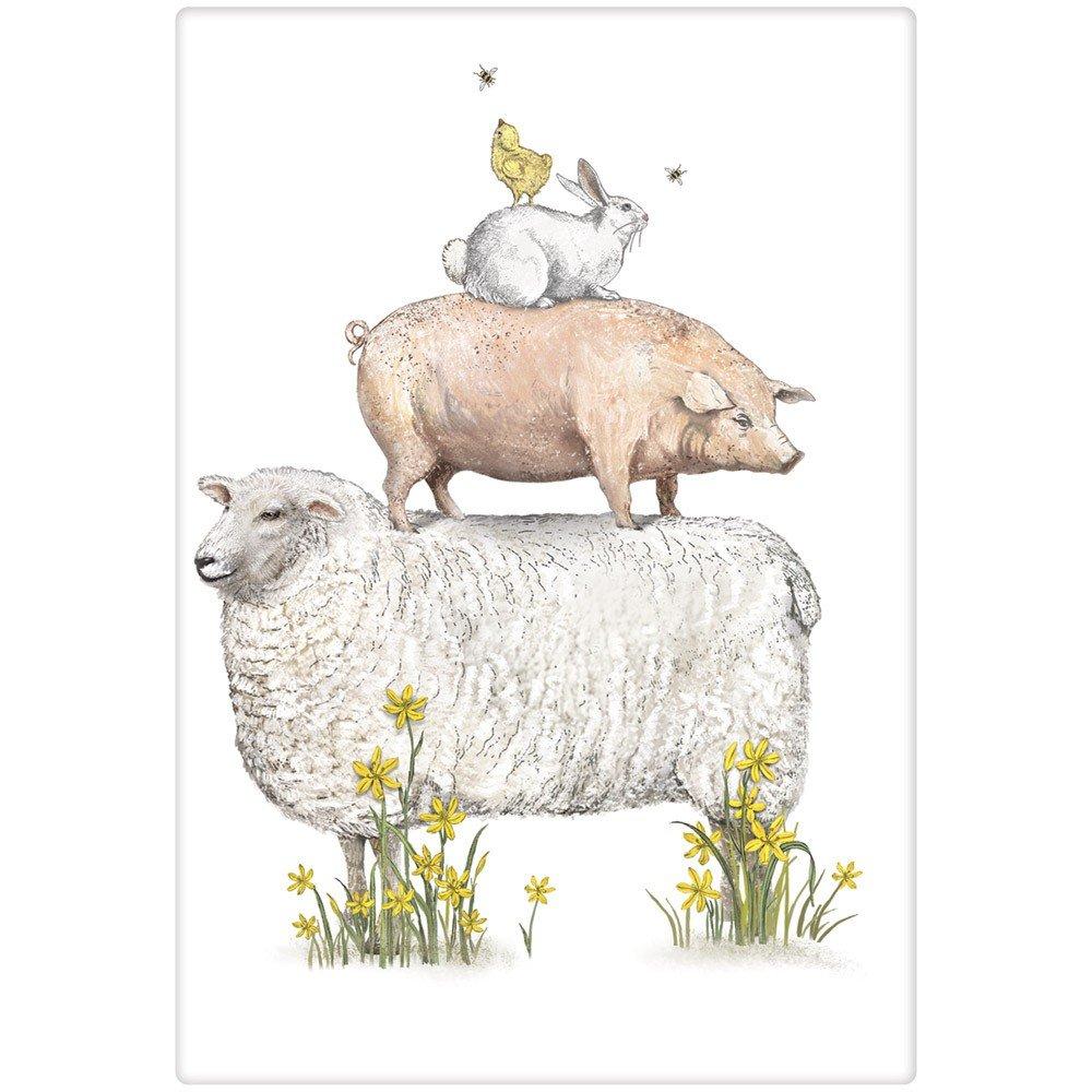 Mary Lake-Thompson Spring Farm Animals Cotton Flour Sack Kitchen Towel