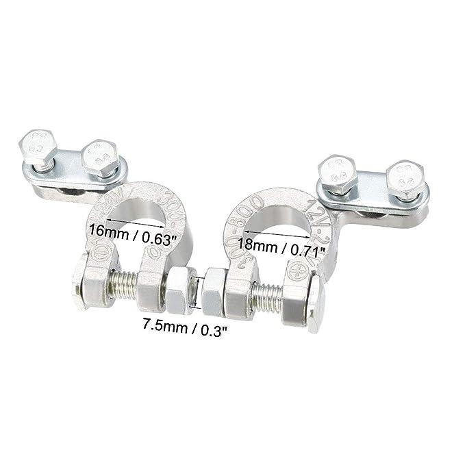 uxcell Top Post Battery Terminal Positive Negative Clamps Set 12V-24V Titanium Alloy 1 Pair
