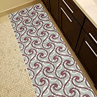 Soft Foam Runner Mat RED SWIRLS Kitchen Bathroom Pool Boat Hallway | 26-inch x 20-feet (2x20)