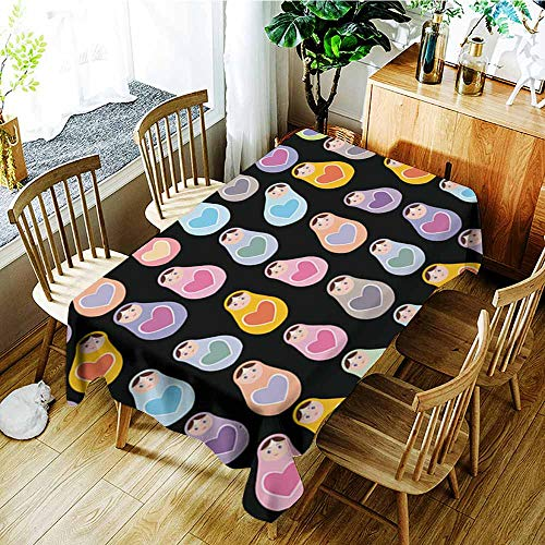 Primitive Cloth Doll Patterns - AGONIU Small Rectangular Tablecloth,Seamless Pattern Russian Dolls Matryoshka on Black Background Vector,Party Decorations Table Cover Cloth,W60x84L