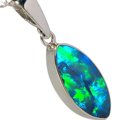 Opal Fire Pendant Necklace Pendant Opal Doublet Necklace Opal Necklace Silver Opal pendant with chain
