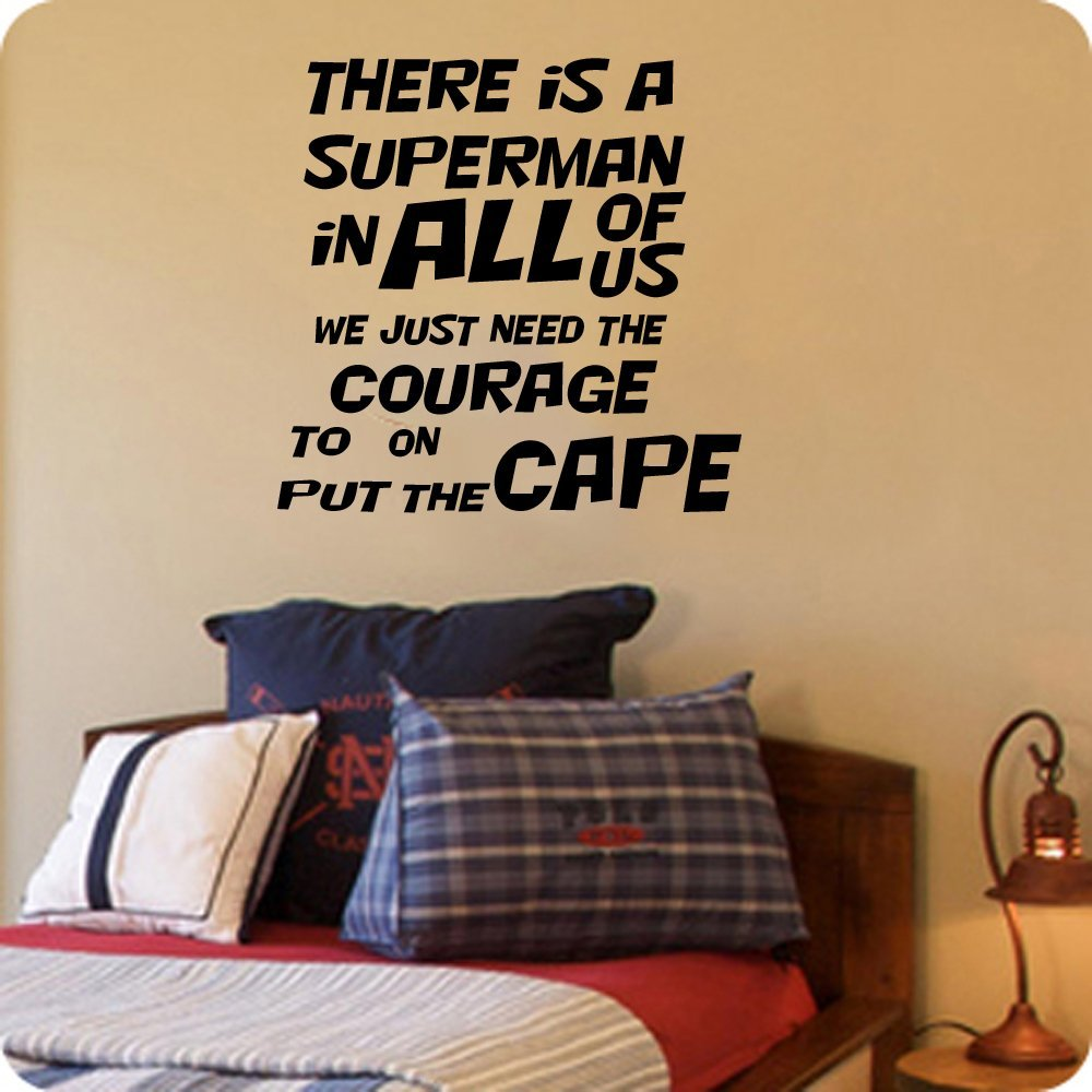 amazon com there is a superman in all of us we just need the amazon com there is a superman in all of us we just need the courage to put on the cape superman quote 16x16 black home kitchen