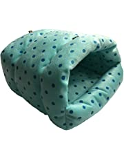 WowowMeow Small Animals Warm Cage Hanging Cave Bed for Chinchillas, Guinea Pigs, Hamsters, Rats, Squirrel and Rabbits (S, Blue- Star)