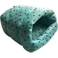 WOWOWMEOW Small Animals Warm Cage Hanging Cave Bed for Chinchillas, Guinea Pigs, Hamsters, Rats, Squirrel and Rabbits (S, Blue-Dot)