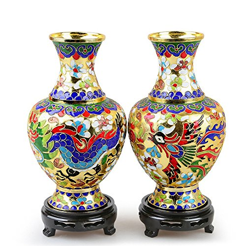 Cloisonne Vase - Wenmily Pair of Handmade Art Craft Cloisonne Dragon and Phoenix Decorative Vase with Base