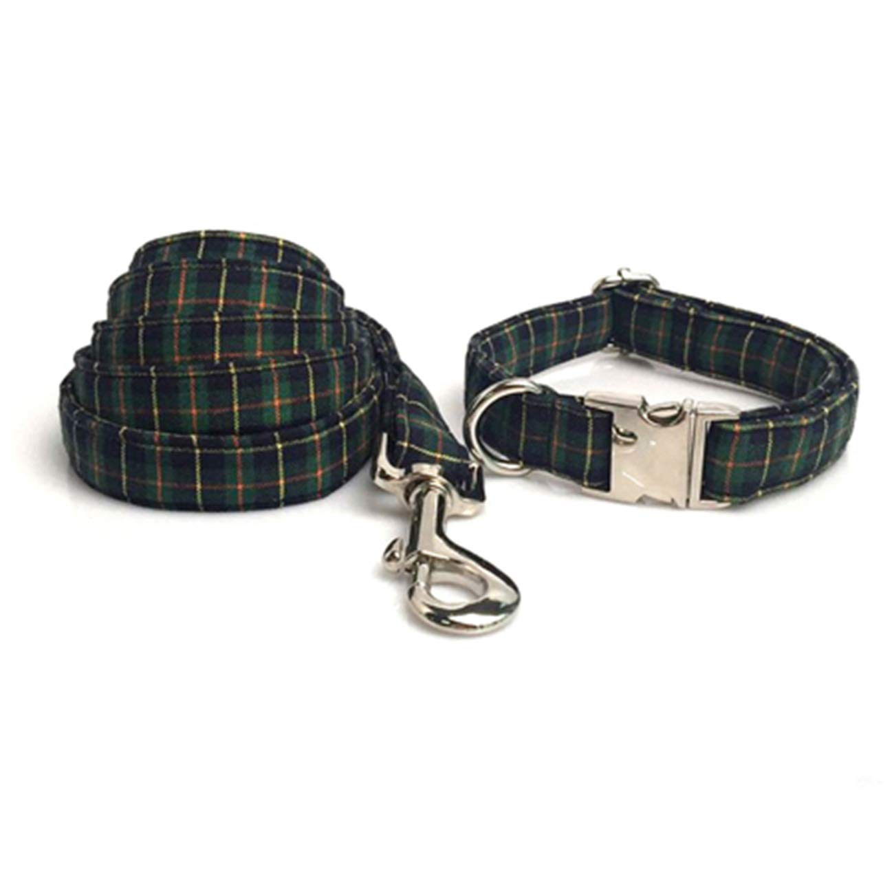 Collar and leash M collar and leash M Beatybag Christmas Green Plaid Dog Collar and Leash Set with Bow Tie Dog &Cat Necklace and Dog Leash Pet Accessaries Collar and Leash M