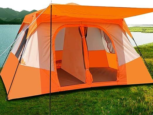 Camping tent Tienda de campaña de 2 Habitaciones, Tienda de Playa a Prueba de Lluvia de Doble Capa, Tienda Impermeable Totalmente automática for Exteriores for 5-8 Personas (Color : Orange): Amazon.es: Hogar