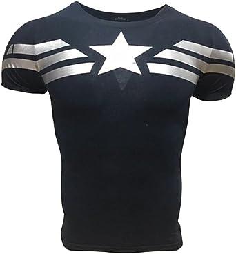 A. M. Sport Camiseta Fitness Compresion Hombre con Dibujos de Superheroes para Entrenar y Hacer Deporte. Licras (Capitan America Básica) - XL: Amazon.es: Ropa y accesorios