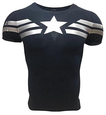 45106e54cdc5b A. M. Sport Camiseta Fitness Compresion Hombre con Dibujos de Superheroes  para Entrenar y Hacer Deporte. Licras (Capitan America Básica)  Amazon.es   Ropa y ...