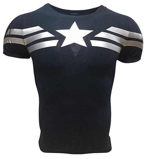 A. M. Sport Camiseta Fitness Compresion Hombre con Dibujos de Superheroes  para Entrenar y Hacer Deporte. Licras (Capitan America Básica)  Amazon.es   Ropa y ... b594cd41f1d4a
