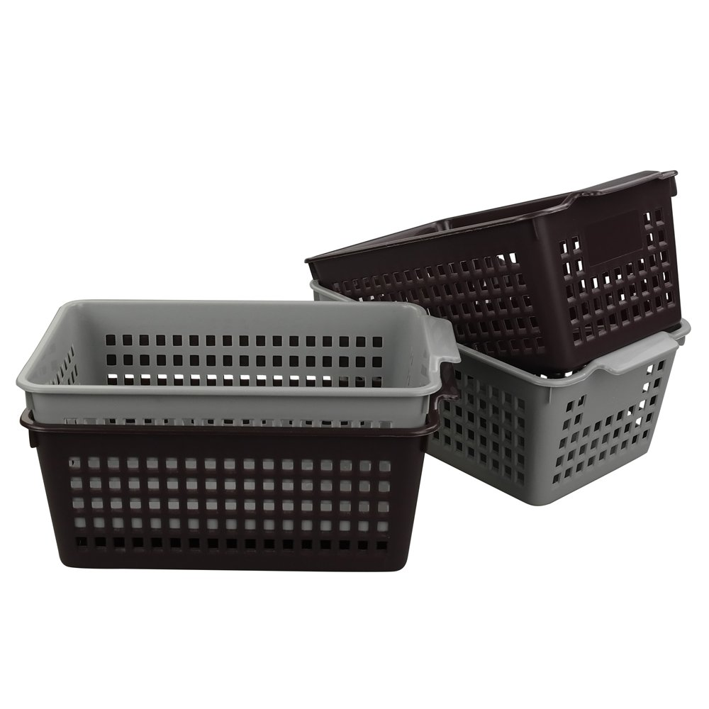 Saedy Plastic Baskets for Storage, 4-Pack
