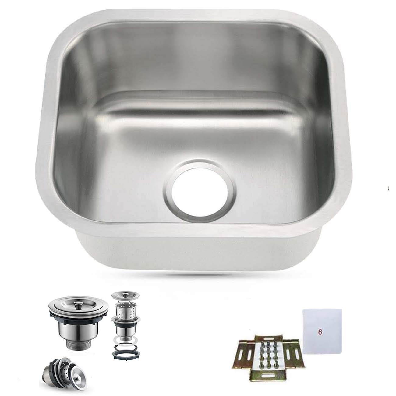 15''X13'' Undermount Single Bowl 304-Stainless Steel Small Bar/Prep Sink 18Gauge by Oakland