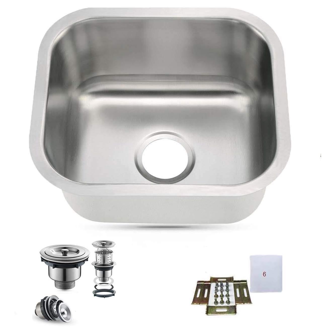 15''X13'' Undermount Single Bowl 304-Stainless Steel Small Bar/Prep Sink 18Gauge
