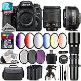 Holiday Saving Bundle for D7500 DSLR Camera + 35mm 1.8G DX Lens + AF-P 18-55mm + 500mm Telephoto Lens + 6PC Graduated Color Filter + 2yr Extended Warranty + Backup Battery - International Version