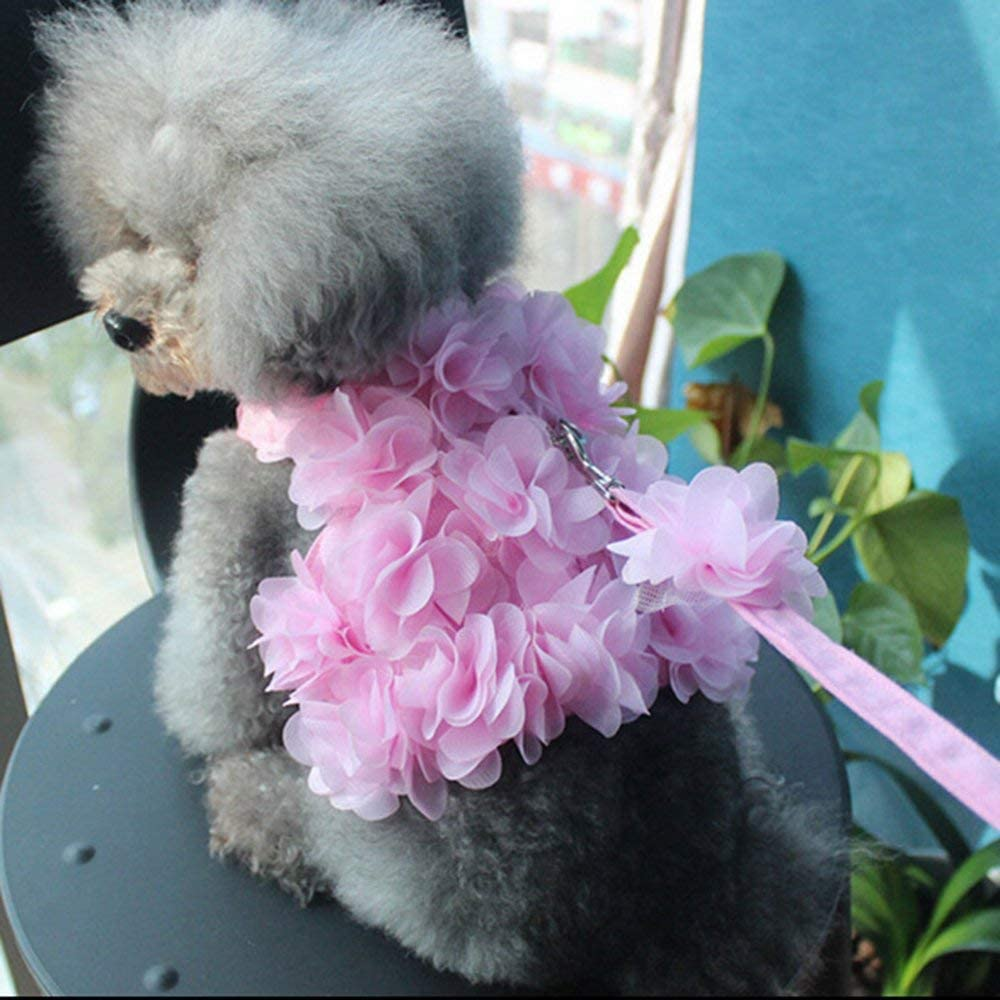 Mandalaa Flower Traction Rope Dog Cat Pet Leash Flower Small Dog Pet Harness and Leash Set Adjustable Puppy Vest Pink