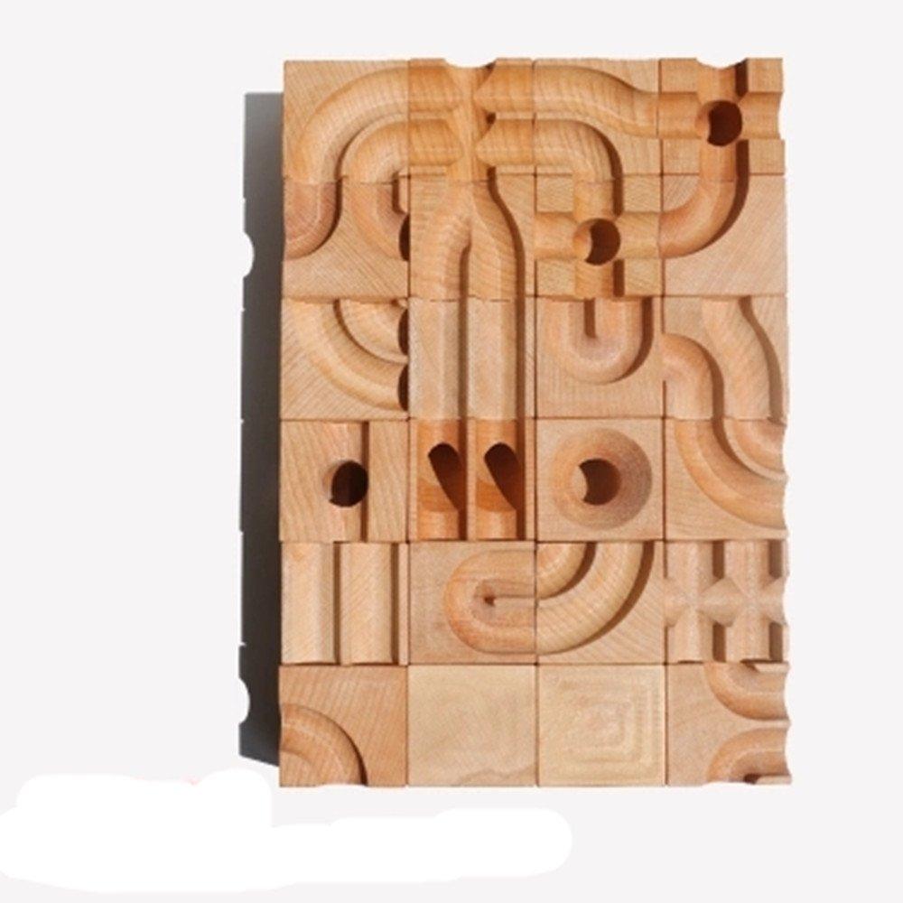(duo+duo sixpack)30pcs Double Track Marble Maze Start Marble Run (beechwood)