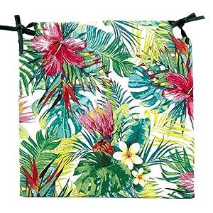 TIENDA EURASIA® Pack de 4 Cojines para Sillas – Estampado Flores Tropical – 2 Cintas de Sujeción – Ideal para Interiores y Exteriores – 40 x 40 x 3 cm (Color)