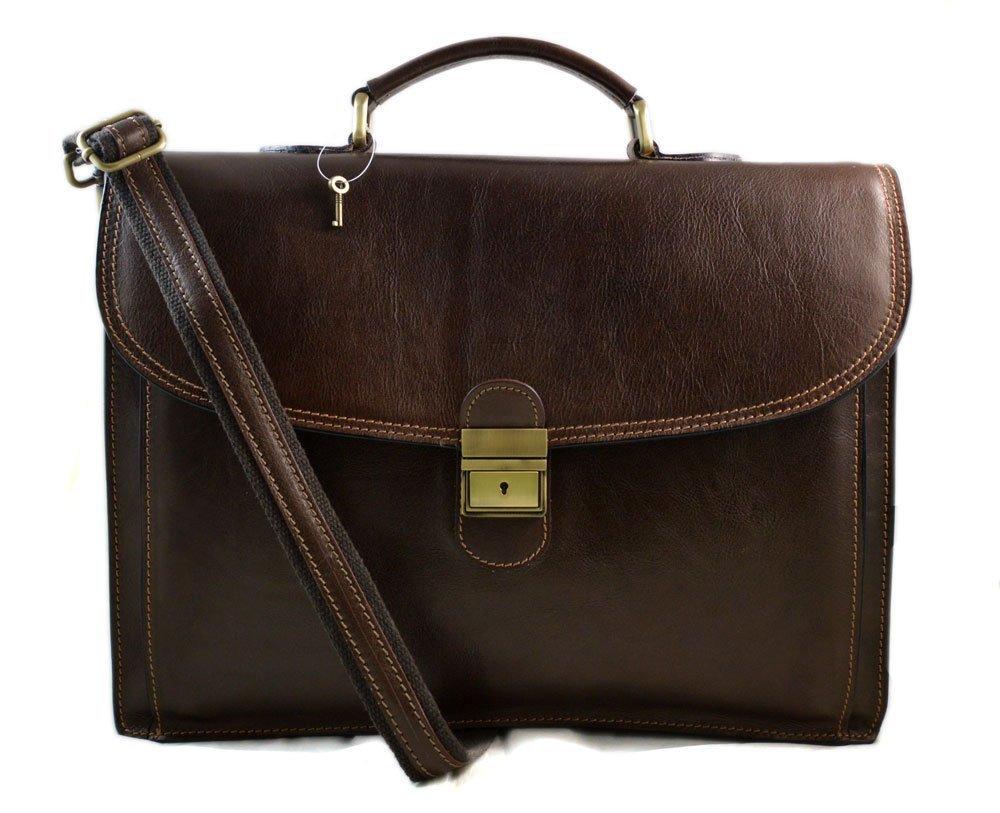 Leather briefcase office bag men ladies bag business leather bag shouder bag messenger document bag leather handbag dark brown