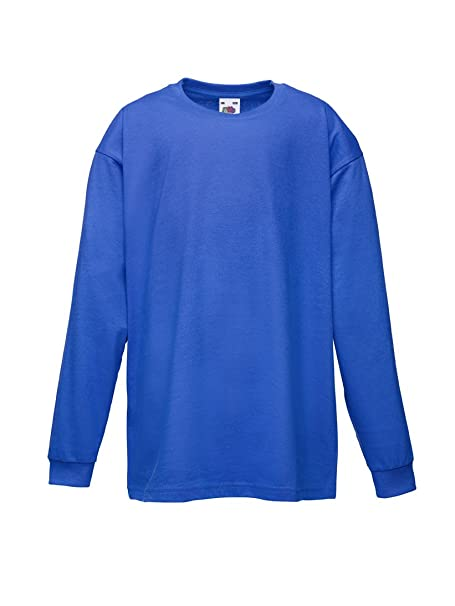 eb7ef509 FRUIT OF THE LOOM CHILDRENS LONG SLEEVE T SHIRT - 5 COLOURS (AGE 3/4, ROYAL  BLUE): Amazon.co.uk: Clothing