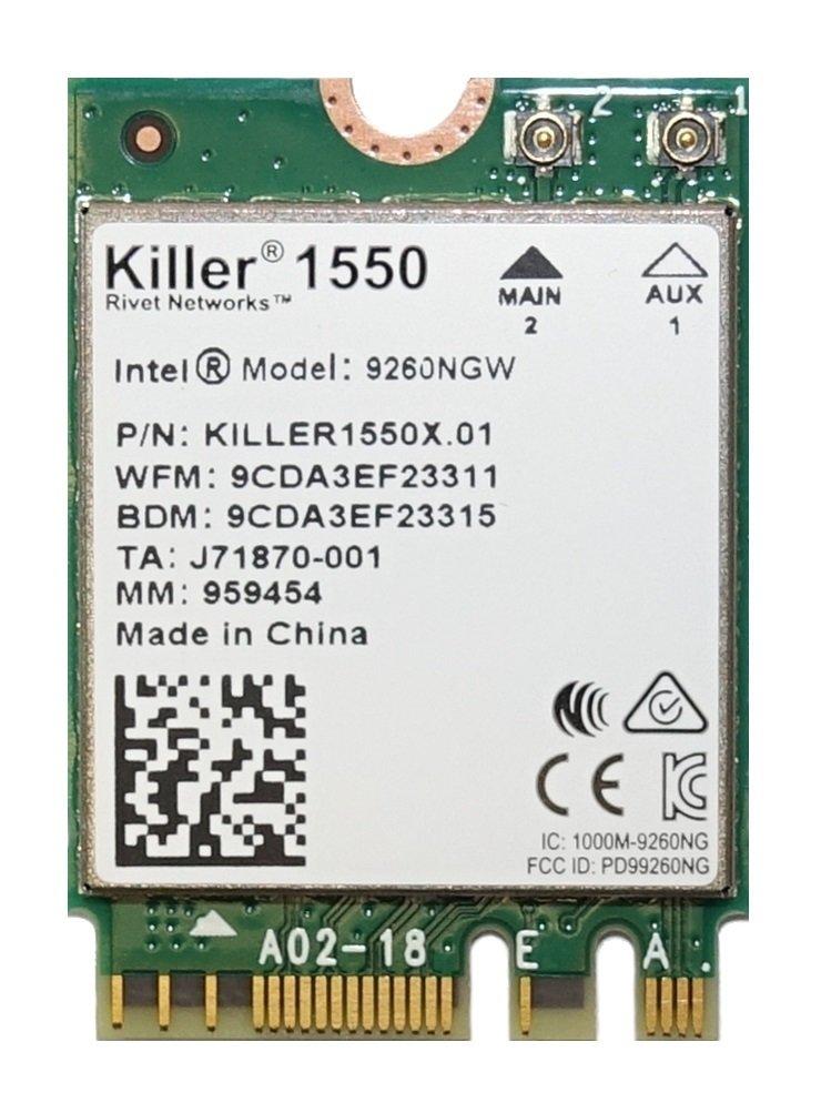 Killer Wireless-AC 1550 WiFi Module - Dual Band, 2x2 11AC, M.2/NGFF