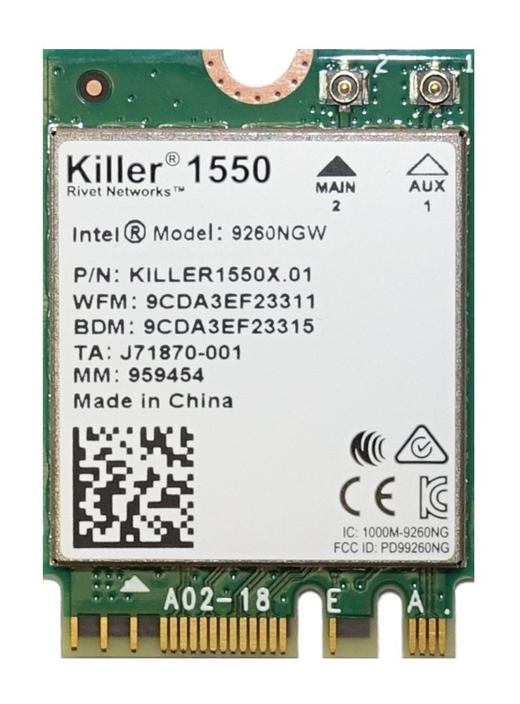 Killer Wireless-AC 1550 WiFi Module - Dual Band, 2x2 11AC, M.2/NGFF