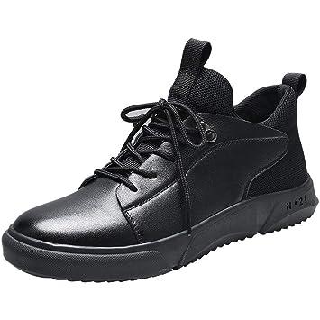 YAN Zapatos Formales para Hombre Botas Altas Botas Martin Botines de Moda Botines con Cordones Desert Botines Chelsea británicos Casuales Negro (Color ...