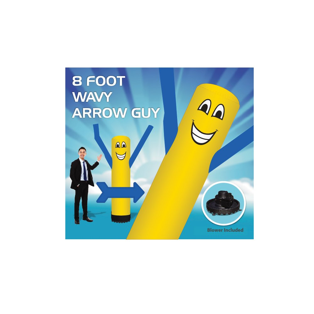 8 Foot Arrow Wavy Guy - Inflatable Dancer Tube Man - Sky Puppet Dancing Balloon. Yellow Body with Blue Arms-18 inch