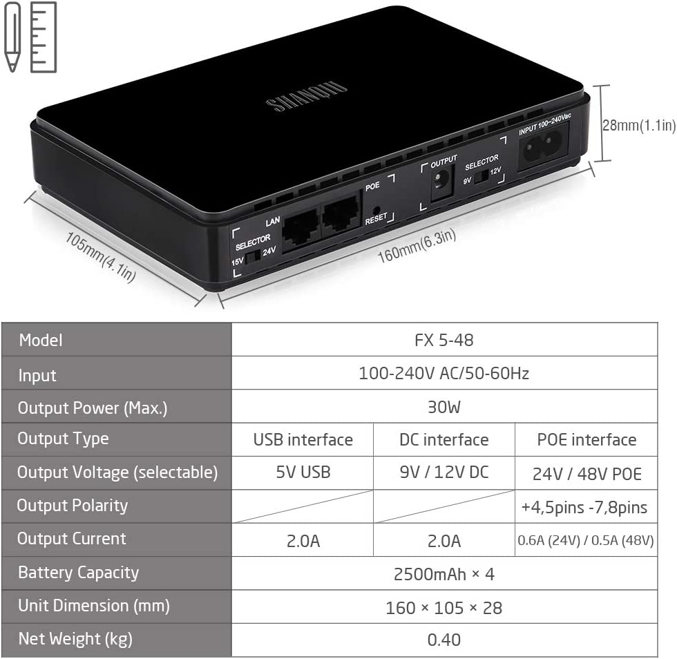Sistema de Alimentación Ininterrumpida Mini UPS para WiFi, Enrutador, Módem, Cámara de Vigilancia con PoE con 10000mAH Batería Entrada 100~240V AC ...