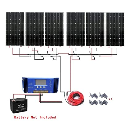Amazon com: ECO-WORTHY 1000W Monocrystalline 24V Off Grid Solar