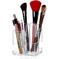 SZJH Premium Acrylic Makeup Organizer, Arranges Makeup Brushes And Cosmetics, 4 Compartment Storage Display Holder
