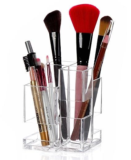 Organizador de maquillaje SZJH, de acrílico transparente, organiza brochas de maquillaje y cosméticos, con 4 compartimentos de almacenamiento