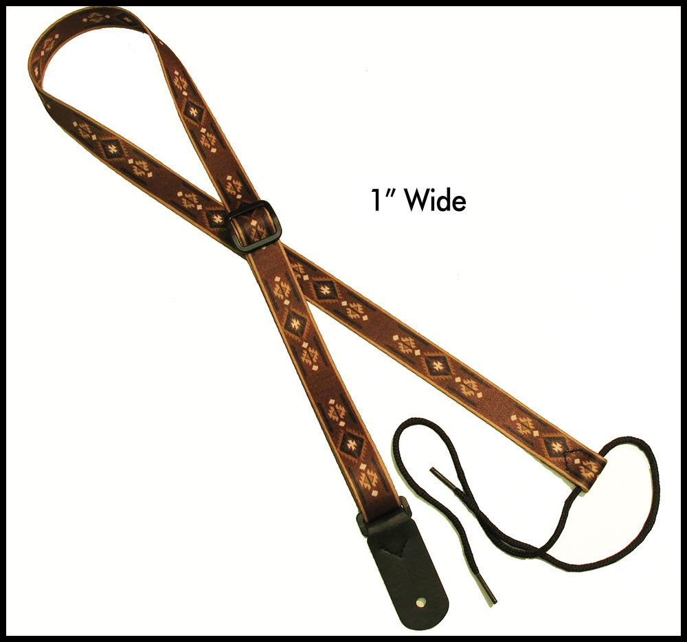 """Legacystraps 1"""" Strap for A & F type Mandolin, Ukuleles and Guitars in Navajo Design with 1 end tab"""