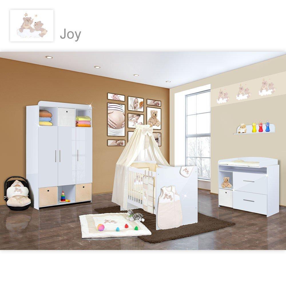 Babyzimmer Mexx in Weiss Hochglanz 11 tlg. mit 3 türigem Kl. + Joy Beige