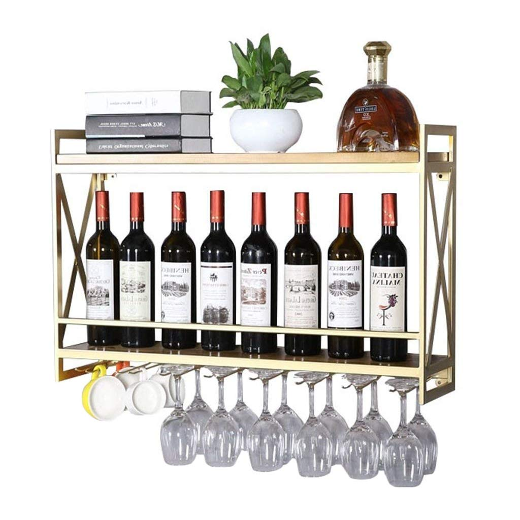 Amazoncom Wall Mount Metal Iron Wine Bottle Glass Rack Shelf