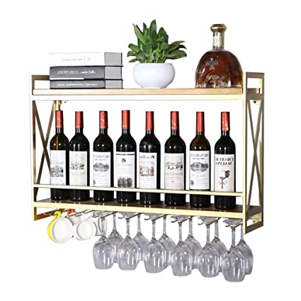 JUN BOTELLERO Botella de Vino de Hierro de Metal de Montaje en Pared | Estante de